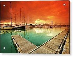 Port Vell - Marina In Barcelona, Spain Acrylic Print by Thomas Jones