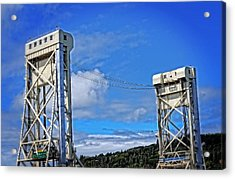 Portage Lake Bridge Houghton Hancock By Sharon Cummings  Acrylic Print