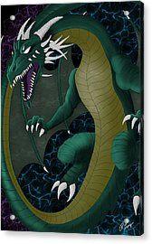 Acrylic Print featuring the digital art Portal Dragon by Raphael Lopez