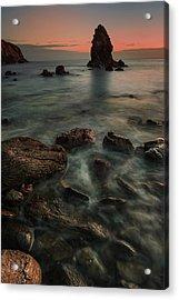 Porth Saint Beach At Dusk. Acrylic Print by Andy Astbury