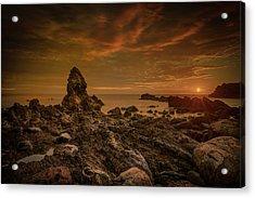 Porth Saint Beach At Sunset. Acrylic Print by Andy Astbury