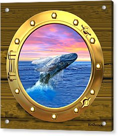 Porthole View Of Breaching Whale Acrylic Print