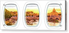 Porthole Windows On Rome Acrylic Print