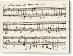 Portion Of The Manuscript Of Beethoven's A Flat Major Sonata, Opus 26 Acrylic Print by Beethoven