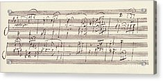 Portion Of The Manuscript Of Beethoven's Sonata In A, Opus 101 Acrylic Print by Beethoven