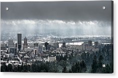 Portland After A Morning Rain Acrylic Print by Don Schwartz