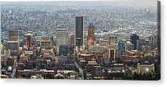 Portland City Downtown Cityscape Panorama Acrylic Print by David Gn