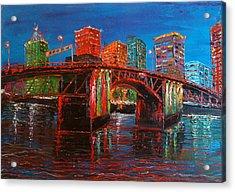 Portland City Lights Over The Morrison Bridge Acrylic Print by Portland Art Creations