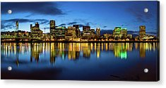 Portland City Skyline Blue Hour Panorama Acrylic Print by David Gn