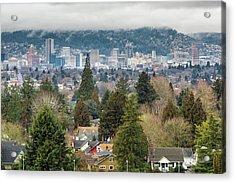 Portland City Skyline From Mount Tabor Acrylic Print by David Gn