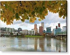 Portland City Skyline Under Fall Foliage Acrylic Print
