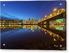 Portland Downtown Blue Hour Acrylic Print