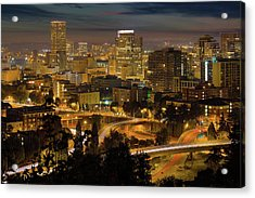 Portland Downtown Cityscape And Freeway At Night Acrylic Print