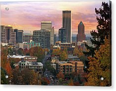Portland Downtown Cityscape During Sunrise In Fall Acrylic Print