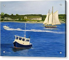 Acrylic Print featuring the painting Portland Harbor by Linda Feinberg