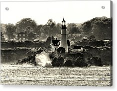 Portland Head Light At Cape Elizabeth In Black And White Acrylic Print