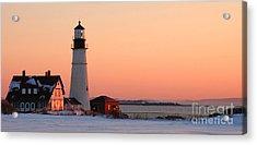 Portland Head Light At Dawn - Lighthouse Seascape Landscape Rocky Coast Maine Acrylic Print by Jon Holiday