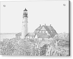 Portland Head Light Drawing Acrylic Print by Dominic White