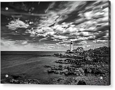 Portland Head Light In Black And White Acrylic Print