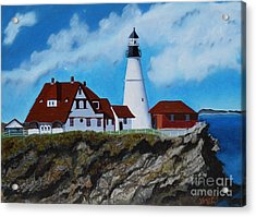 Portland Head Light In Maine Viewed From The South Acrylic Print