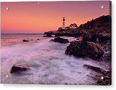 Acrylic Print featuring the photograph Portland Head Light In Pink  by Emmanuel Panagiotakis