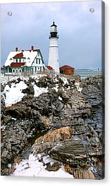 Acrylic Print featuring the photograph Portland Head Light In Winter by Olivier Le Queinec