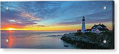 Acrylic Print featuring the photograph Portland Head Light Sunrise by Juergen Roth