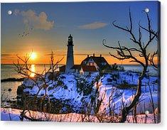 Portland Head Light Sunrise - Maine Acrylic Print by Joann Vitali