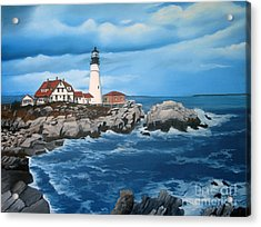 Portland Head Light Acrylic Print by Tobi Czumak