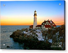 Acrylic Print featuring the photograph Portland Head Light Winter Sunset by Olivier Le Queinec