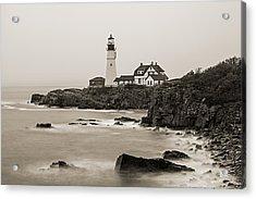Portland Head Lighthouse Foggy Morning Sepia Acrylic Print