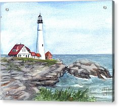 Portland Head Lighthouse Maine Usa Acrylic Print by Carol Wisniewski