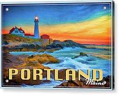 Portland Head Lighthouse Vintage Travel Poster Acrylic Print by Rick Berk