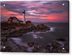 Portland Head Sunset Acrylic Print by Darren White