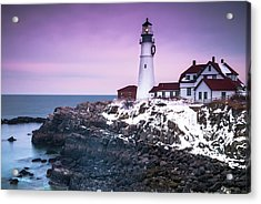 Acrylic Print featuring the photograph Maine Portland Headlight Lighthouse In Winter Snow by Ranjay Mitra