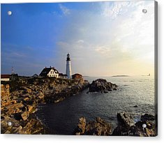Portland Headlight Morning Glow Acrylic Print