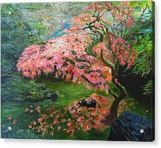 Portland Japanese Maple Acrylic Print by LaVonne Hand