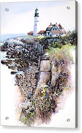 Portland Lighthouse Acrylic Print by Mike Hill