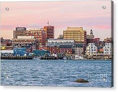 Portland Maine Skyline Acrylic Print by Benjamin Williamson