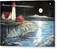 Portland Maine Twilight Acrylic Print by Bernadette Krupa