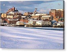 Portland Maine Winter Skyline Acrylic Print by Eric Gendron