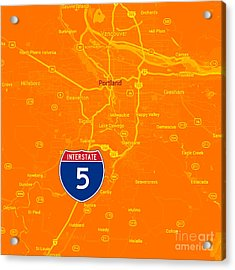 Portland Map, Interstate 5 Acrylic Print