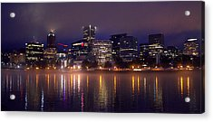 Portland Night Skyline Acrylic Print by Joseph Skompski