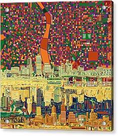 Portland Skyline Abstract 3 Acrylic Print
