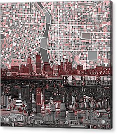 Portland Skyline Abstract 8 Acrylic Print