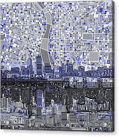 Portland Skyline Abstract Nb Acrylic Print