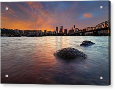 Portland Skyline Along Willamette River At Sunset Acrylic Print