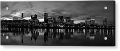 Portland Skyline Black And White Acrylic Print