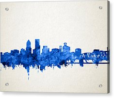 Portland Skyline Watercolor 4 Acrylic Print