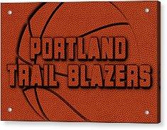 Portland Trail Blazers Leather Art Acrylic Print by Joe Hamilton